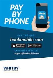 "Image that says ""Pay by phone. Get the app at honkmobile.com"""