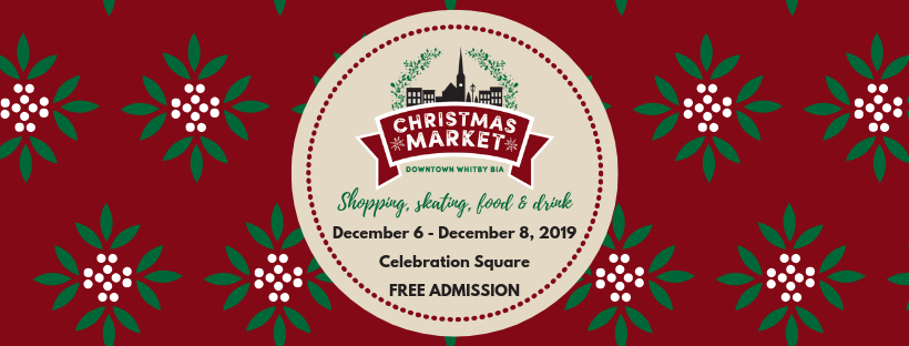 Christmas Market details. December 6 until December 8, 2019 at Celebration Square in Whitby. Free admission.