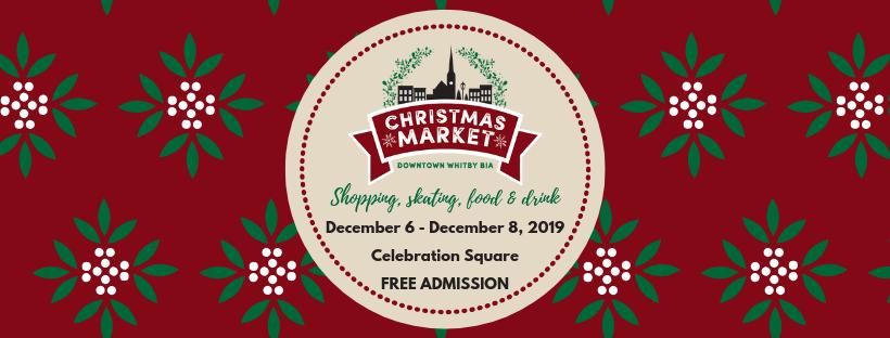 Christmas Market details. December 6 until December 8, 2019 at Celebration Square in Whitby. Free admission.