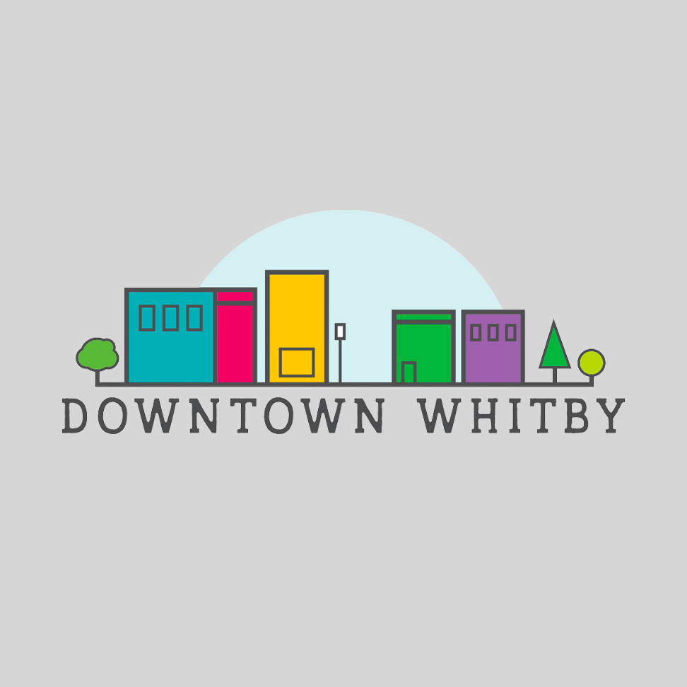 Illustrated skyline with Downtown Whitby written underneath
