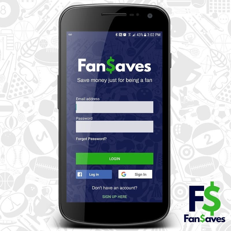 An image showing the FanSaves app homepage on a mobile phone
