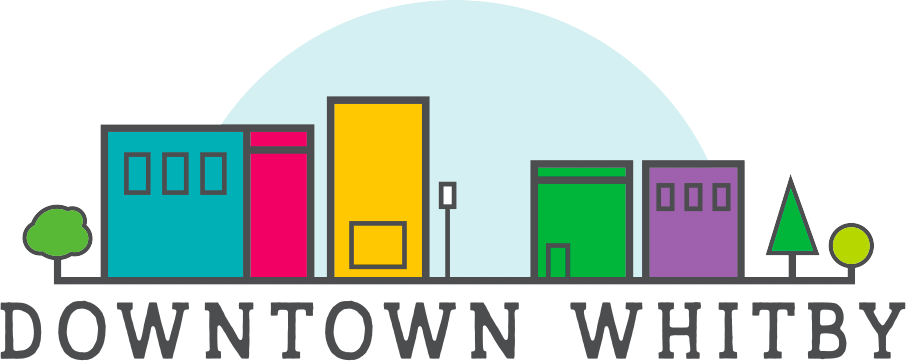 An illustrated skyline with Downtown Whitby written underneath